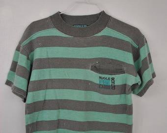 Bugle Boy Limited Grey Sea foam Stripe tee shirt // small t shirt Crop top // 90s // pocket tee