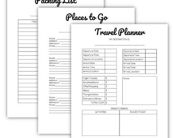 Travel Printable Set | travel printable | packing list | travel info | travelers notebook | travel journal | printable planner | trip plan