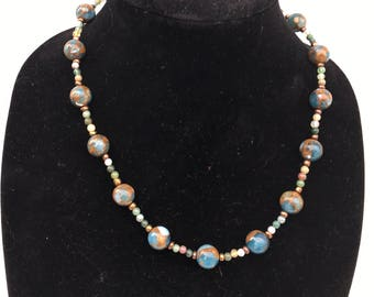 Brown Blue Beaded Matinee Necklace