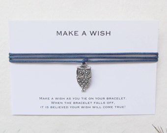 Wish bracelet, make a wish bracelet, friendship bracelet, owl bracelet