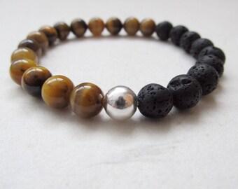 Tiger eye bracelet, yoga bracelet, lava stone bracelet, mens bracelet