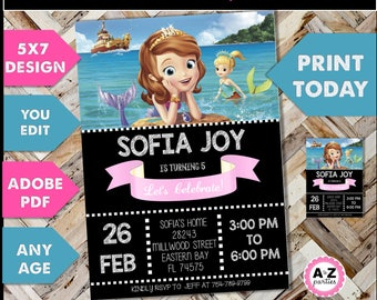 Sofia the First Inspired Invitation - Mermaid - Sofia Birthday Party Invitation - Edit on your Own - Print Today- editable text - 5x7 design