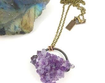 Amethyst Cluster Necklace, Raw Stone Necklace, Raw Crystal Necklace, Antique Copper, Raw Gemstone, Electroformed, February Birthstone