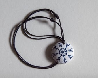 White Aegishjalmur / Helm of Awe necklace.