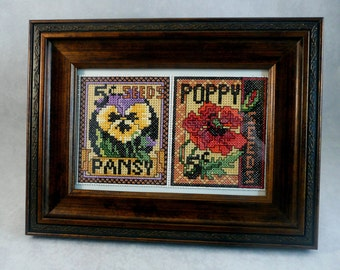 Finished Cross Stitch Flowers Framed Pansy Poppy Flower Seed Packets Handmade Unique Gift Idea
