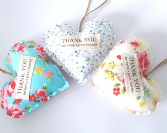 Thank you for being a great teacher fabric heart gift - Teacher gift - End of term gift - Teacher heart gift - Thank you teacher - Wrapped
