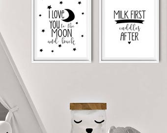 Monochrome set of 2 prints - I love you to the moon and back - milk first print - Nursery print  -  Monochrome prints - New baby print
