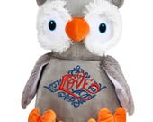 Cubbies Grey Owl Personalized & Embroidered Monogrammed Stuffed Teddie Animal Gift