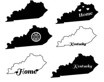 Kentucky SVG Cut Files, Kentucky Monogram SVG, Kentucky SVG, American States Svg Files, Monogram Svg State, Kentucky dxf, eps, png, Vector.