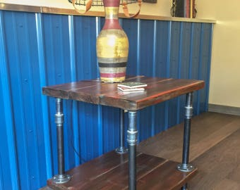 Industrial Wood and Pipe End Table/Rustic End Table/Industrial Side Table/Industrial Pipe End Table/Pipe Table/Rustic Painted End Table