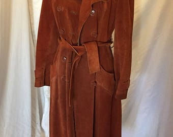 Vintage Uruguay Red Brown Suede Leather Boho Belted Long Trench Jacket Lined 6