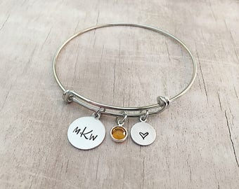 Monogram Bracelet for Her - Christmas Gift for Women - Personalized Monogram Jewelry - Initial Bracelets for Women