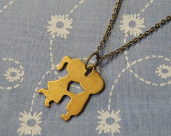 Antique Plated Small Kissing Cousins Charm Pendent Necklace