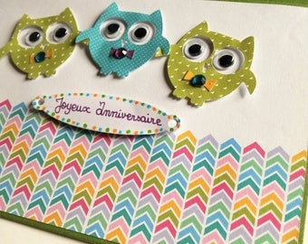 Birthday card for child OWL buddies