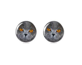 Sterling Silver 925 Cat Earring Studs, Cat Studs, Silver Cat Earring Studs, Silver Studs