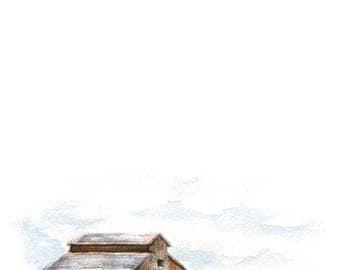 Brown Barn Watercolor PRINT - Barn Painting - Barn Watercolor Print - Barn - Farmhouse - Modern Farmhouse - Home Decor - Home - Farm