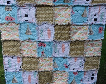 Rag Quilt, Baby Rag Quilt, Tepee and Arrows Rag Quilt, Lap Throw, Sofa Throw, Crib Rag Quilt, Patchwork Rag Quilt, Baby Girl Gift