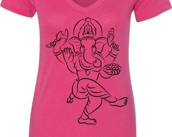 Yoga Clothing For You Ladies Shirt Sketch Ganesha Black Print Womens V-Neck Tee Shirt = N1540-BSKETCHGANESH