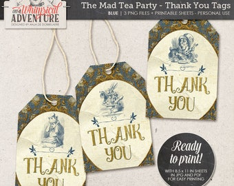 Printable Alice In Wonderland thank you tags, party printables, printable collage sheet vintage mad tea party digital download