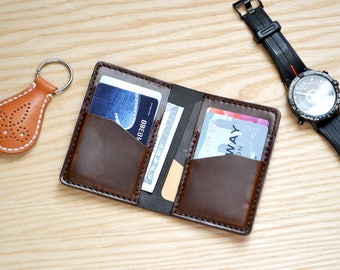 Credit card case in Horween leather / Wallet, business card, purse in Chocolate brown Horween Chromexcel  leather