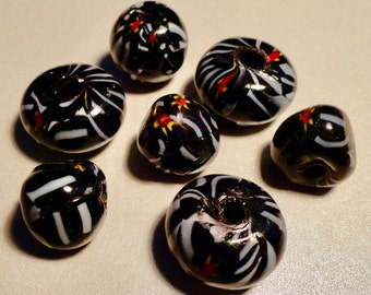 Glass Focal Beads.  Black Glass Beads.  Large Drilled Hole. Rondelle Beads. Large Beads. Assorted Glass Beads.