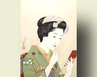 Woman Applying Color to Her Lips 1920 - Goyo Hashiguchi Print Ukiyo-e Poster Japanese Wall Art Gift Idea Japanese Prints Ukiyoe Poster