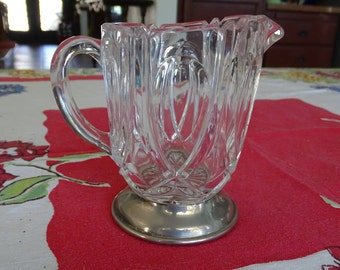 Vintage Cut Glass Creamer with Silver Base, Footed Creamer with Inverted Teardrop Design, Mid Century Creamer, Adorable Tea Party Server