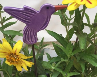 Purple Hummingbird Garden Stakes