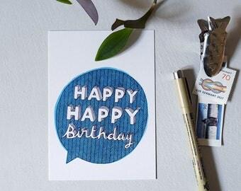 Happy Happy Birthday - Postcard
