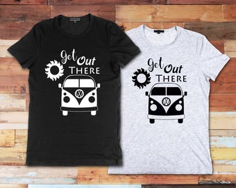 Get Out There Unisex ACustom Novelty Unisex Adult T-Shirt Vinyl Funny Tee Fun Gift Idea Cute TShirt Shirt VW Bus Sun Travel RV Traveling