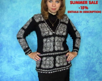 Hand knitted sweater,Goat down blouse,Crochet blouse,Wool pullover,Jumper,Jacket,Jersey,Crochet top,Tunic,100%Natural materials