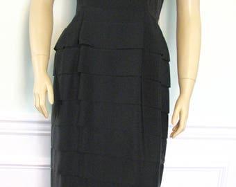 Vintage Dress 1950s Wiggle Tiered LBD Black Size 6