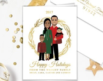 First Christmas Card Portrait / Family Portrait Holiday Card / Personalized Baby Cartoon Illustration ▷ Printed Heavy Paper {or} Printable