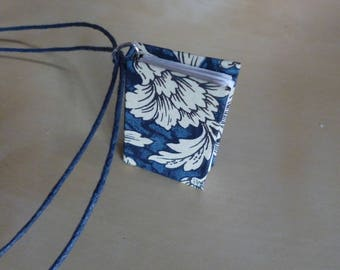 Book necklace, mini book necklace, miniature book, blue floral, mini hardback, book jewellery