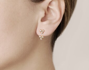 Minimalist Ear Jacket - Dainty Ear Jacket - Zircon Ear Jacket - Flower Ear Jacket  - Delicate Front Back Earrings - Gold Filled Ear Jacket