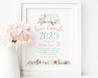 Some Bunny Time Capsule Girl First Birthday Party Sign Time Capsule Printable Cards 1st Birthday Baby Shower Game Wishes Advice For Baby