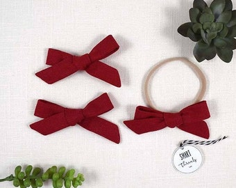 Bow Clip Pigtail Set or Headband | 'Brick' | Red | linen | schoolgirl hair bows, baby, toddler girls
