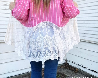 Pearl Snap Duster w/ Lace Trim - Lace Trim Duster - Pink Duster - MEDIUM