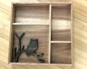 Hand Made Wooden Curio Shelf with Owl Detail
