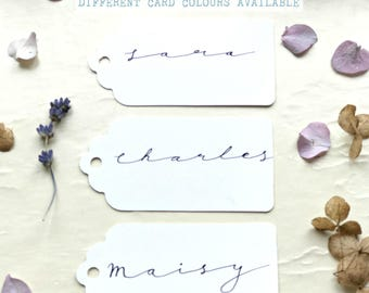 Scalloped Name Tags, Art Deco Wedding, Name Place Cards, Wedding Gift Tags, Handwritten Wedding Calligraphy, Luggage Tag, Wedding Cards