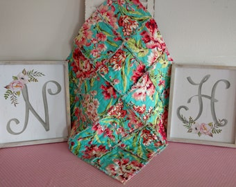 """Baby Lovey 24""""x24"""" Reversible/Security Blanket/Rag Quilt/Amy Butler Love Bliss Bouquet Teal,Pink,Coral/Handmade"""