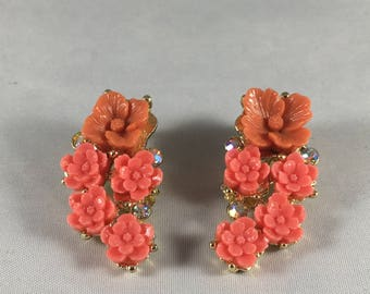 Flower Earrings Pink, Vintage Earrings, Floral Earrings, Flower Bouquet Earrings