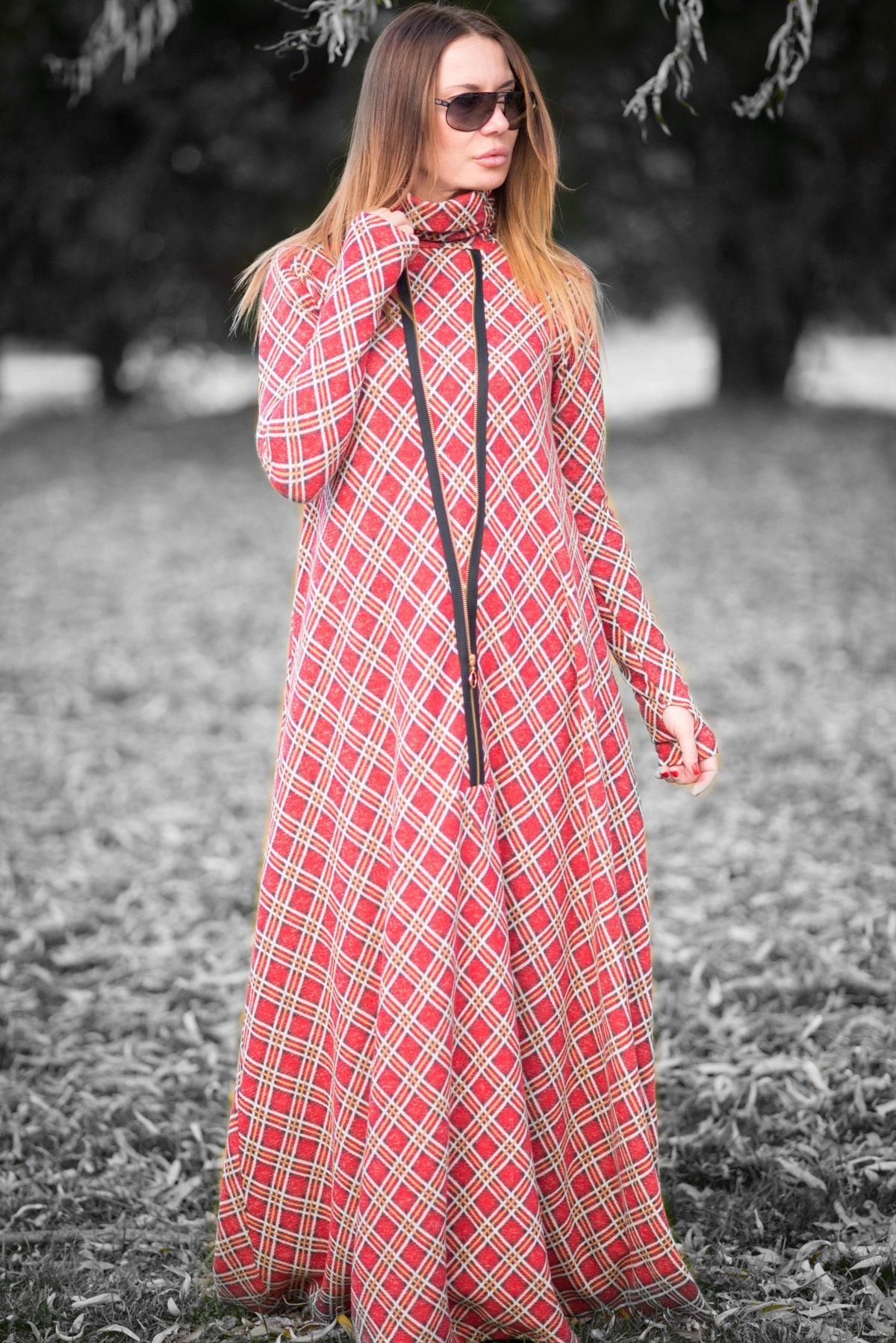 Long Winter dress, Turtleneck Cotton Maxi Dress, Long Maxi Dress ...