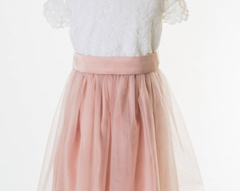 Tulle Girl Dress with White Lace top/ tulle skirt in many colours by Matchimony