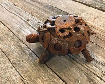 Rustic metal turtle made from reclaimed metal
