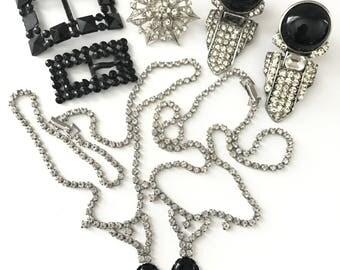 Vintage Rhinestone Jewelry Lot, Repair Repurpose Jewelry Lot, Upcycle Lot, Vintage Components Repurpose Lot