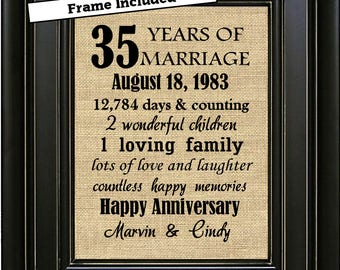 FRAMED Personalized 35th Anniversary Gift/35th Anniversary Gifts/35th Anniversary gift for parents/Gift for wife/Coral Anniversary/Burlap