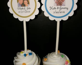 "12 Personalized 2"" Round Scallop Wedding Cupcake Toppers@*Use Your Own Photo!"