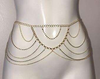 15% off sale, Body Chain, gold body chain, bikini body jewelry, crystal belly chain, belly chain, harness body chain, body jewelry