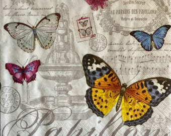"""3 Decoupage Napkins,Papillons French Butterflies, 13"""" x 13"""""""